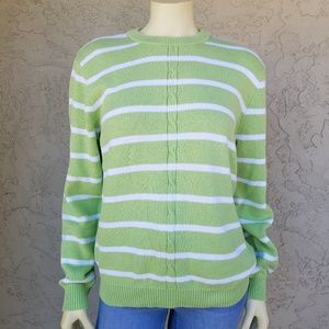 Appleseed's Lime Green Striped Crew Neck Sweater